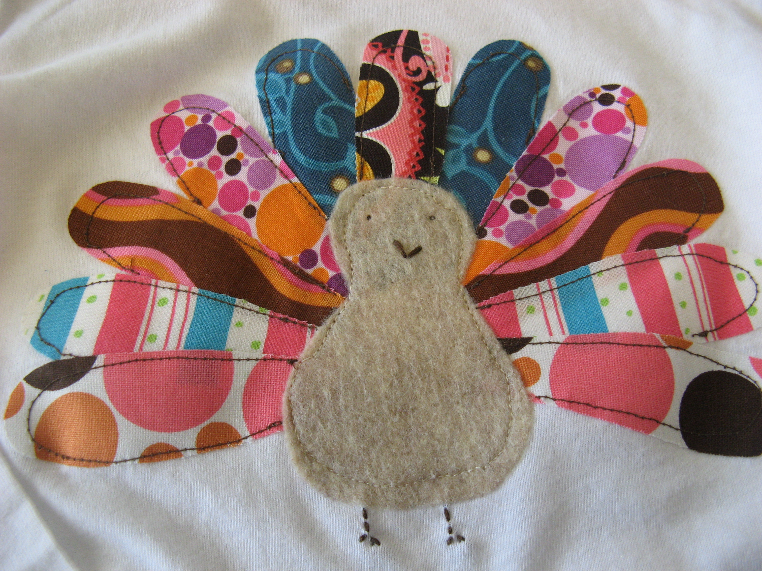 Creative endeavors turkey applique shirt somewhere in for Applique shirts for sale