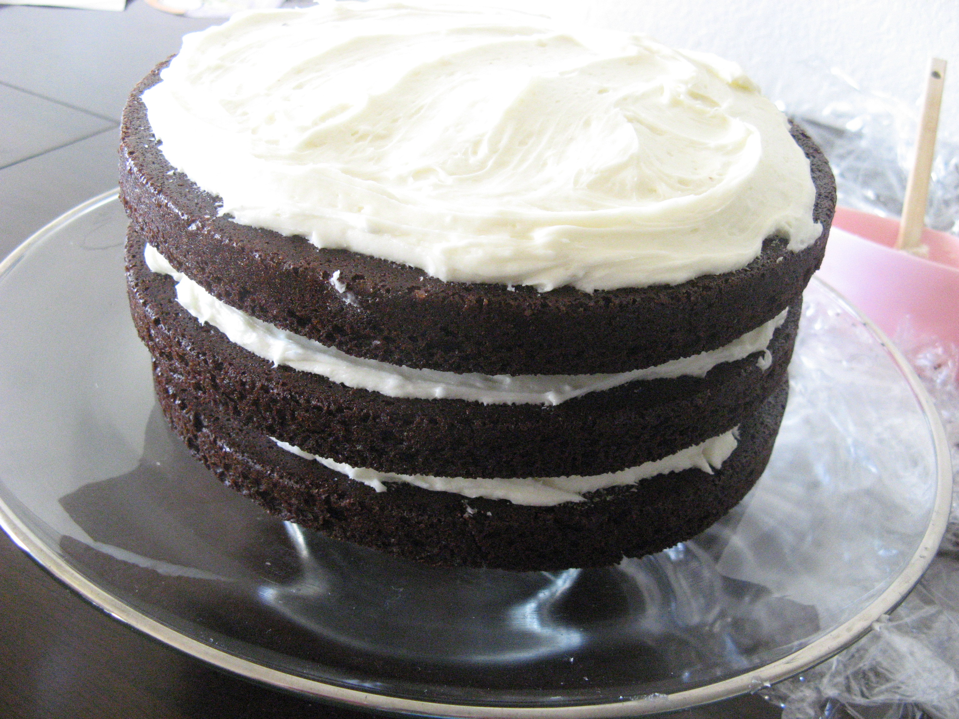Recipe: Chocolate Layer Cake with Cream Cheese Filling and Chocolate ...